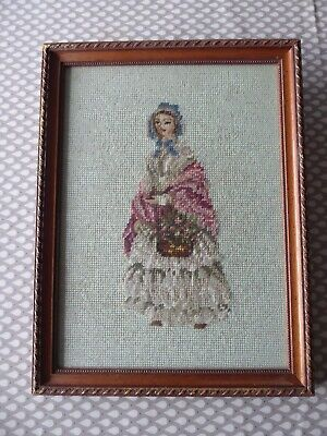 Vintage Hand Embroidered Berlin Wool Work Picture Of Pretty Crinoline Lady