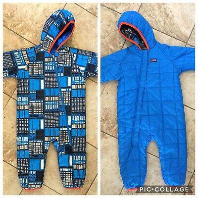 0f711bae Patagonia Blue Reversible Puff Ball Bunting Snowsuit Size 18-24 Months