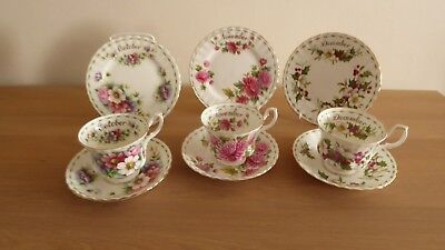 Royal Albert Flower of the Month 12 trios