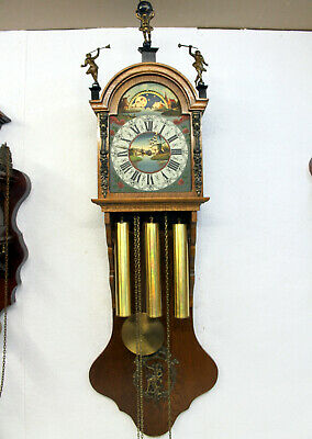 Old Big Wall Clock Frisian Westminster Zaandam Warmink Wuba Dutch 8 Day Clock