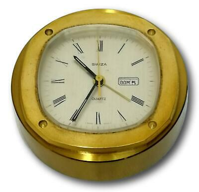 tabletop clock swiza brass with date display 60's vintage with box