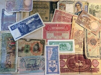 Old vintage Foreign Currency bills Various nationalities Decoupage paper Crafts