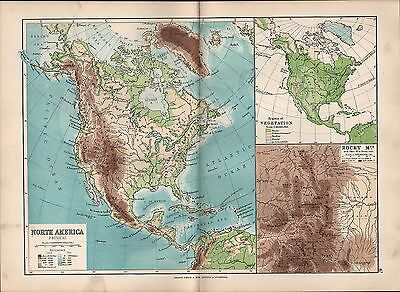 1895 Victorian Map ~ North America Physical Vegetation Rocky Mountains