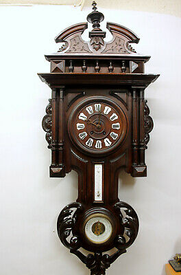 Antique Wall French Clock Walnut HENRY II 1880Th with Thermometer and Barometer
