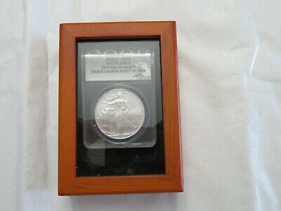 2008 S-$1 American Silver Eagle ANACS MS-70 First Day of Issue #5977 of 7498 COA