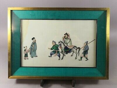 Antique Chinese Painting On Rice Paper Pith Paper With Civilians