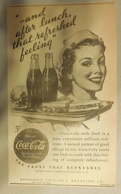 "Coca-Cola ad: ""That Refreshed Feeling"" 1930's ~ 6.5 x 9 inches 1930's"