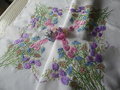 Vintage Hand Embroidered Tablecloth=Stunning Sweet Pea Mixed Bouquets