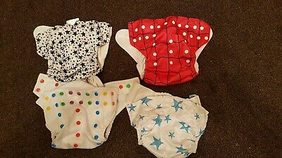 Reusable Cloth Nappy Washable Baby STANDARD Popper Adjustable Wrap x 4
