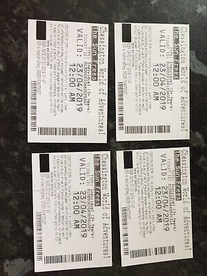 4 X Chessington World Of Adventures Tickets - Valid Tuesday 23rd April 2019.