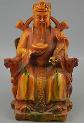 AAA Decor Collect China Handmade Amber Resin Carve Wealth Immortal Rare Statue