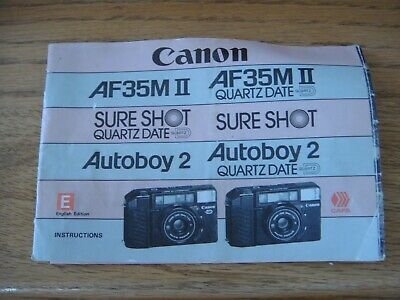 Canon AF35mm II 38mm Auto Focus Sure Shot Auto Boy 2 Instructions Booklet Only
