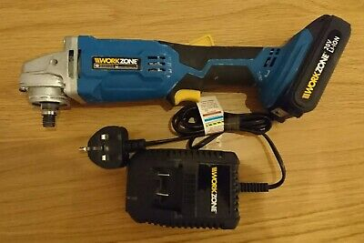 Workzone 20v cordless angle grinder with lithium Li-ion battery and charger.