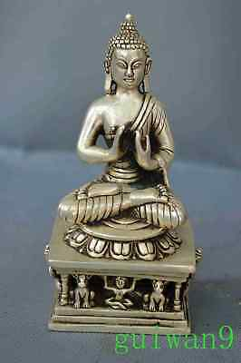 Collectable Miao Silver Carve Tibet Animal Hold Buddha Religious Exorcism Statue