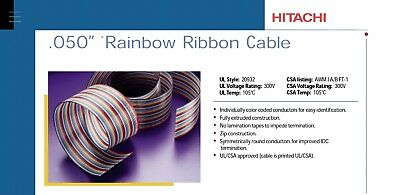 """Rainbow Ribbon Cable  .050""""  Hitachi Cable P/n: 23026-026 Roll=100'"""