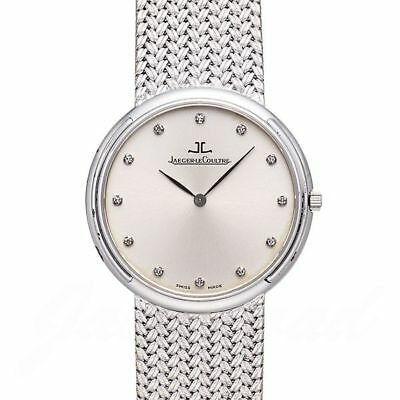 JAEGER LE COULTRE Round 164.33.79 SOLID WHITE GOLD 18K Silver Watch Antique Rare