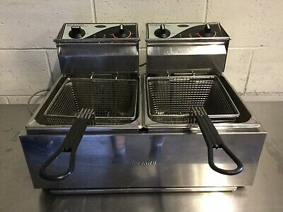 COMMERCIAL Kitchen Cafe Restaurant Bench Top Roband Twin Deep Fryer 10 Amp