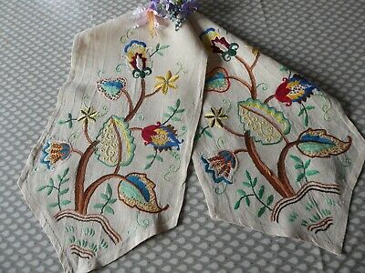 Vintage Hand Embroidered Table Runner With Beautiful Jacobean Style Design
