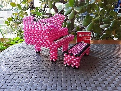 Kitsch Grand Piano and Stool Beaded Hot Pink Ornament