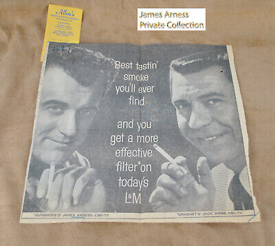 James Arness Gunsmoke Marshal Dillon VTG L& M Cigarette Ad with Jack Webb