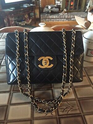 a1f5eaa04407b8 Chanel Vintage 1994 Black Caviar Leather Vertical Quilted Jumbo XL Flap Bag.