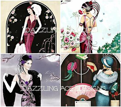 MOONLIGHT ART DECO LADIES Embellishments (8), Card Toppers, Card Making Toppers