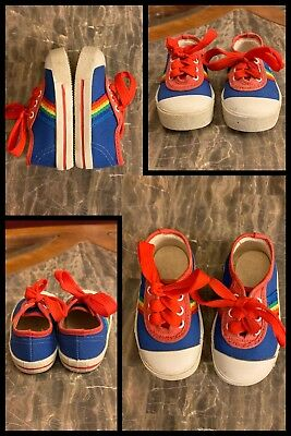 1970s Tennis Shoes Sneakers Round Toe Hippy Blue Red Canvas Laces Ties Kids Sz 3