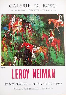 """Leroy Neiman LE Numbered Bookplate """"Galerie O. Bosc"""" French Ad Paris Horses Art"""