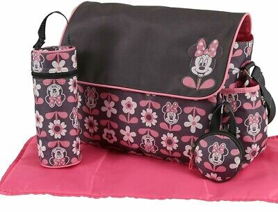 NEW Disney Minnie Mouse Baby Nappy Bag Pink Bottle & Dummy Holder Change Mat