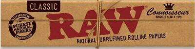 4X RAW Classic Connoisseur King Size Rolling Papers with Tips Free gift ships f