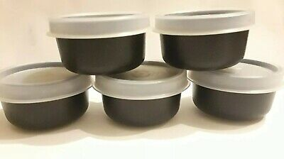 Tupperware Smidgets Set of 5 Spices Salad Dressings Beads Black New