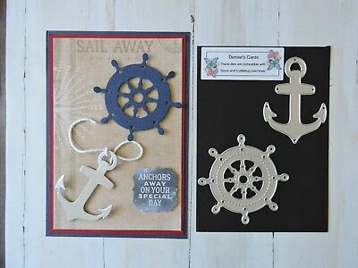 Craft Metal Cutting Die -- Ship Wheel n Anchor Design