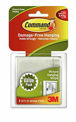 3M Command   Picture Hanging Strips White Medium 8 Pack HOLD 5.4KG【FREE POSTAGE】