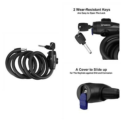 HK Bicycle Self Coiling Combination Cable Bike Locks with Mounting Bracket Myst