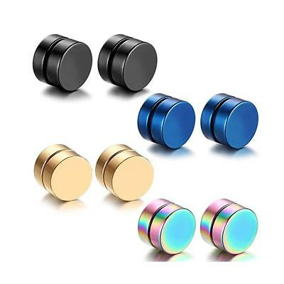 8pcs Circle Magnetic Clip On Non Piercing Magnet Stud Earrings For Mens Womens