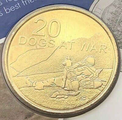 2016 Australian 20 Cent Ram Carded Coin - Dogs At War Unc - Legend Of The Anzacs