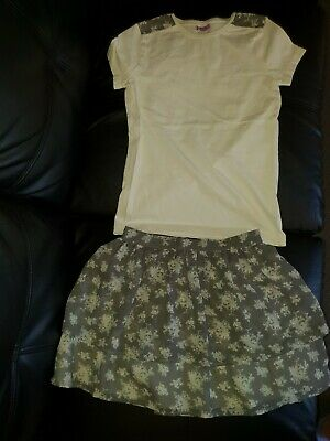 F&F Uk Girls Size 9 - 10 Years 2 Pce Set Floral Print Sheer Skirt Matching Top