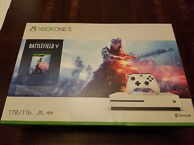 BRAND NEW Microsoft Xbox One S 1TB Console - Battlefield V Bundle Factory Sealed
