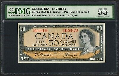 Canada,Bank of Canada,BC-42a,1954,50 Dollars,PMG 55 without EPQ