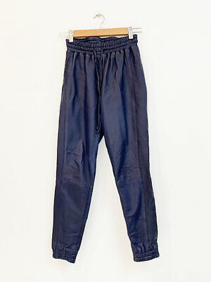 Designer Stanzee Size 0 (6 to 8 AU) Blue Leather Track Style Women's Pants