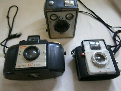 Vintage Kodak Brownie Film Cameras X 3  - 2 X Complete 1 X Parts -Used
