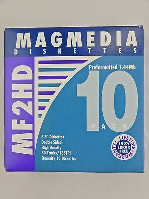 """Magmedia 3.5"""" Diskettes Box of 10 MF2HD Double Sided High Density"""