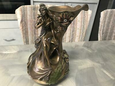 Vintage Bronze Resin Vase Jug Ornament Lady Figure Veronese Sculpture Statue