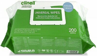 Clinell Universal Disinfectant - Pack Of 200 Large Wipes Flu Virus, and MRSA