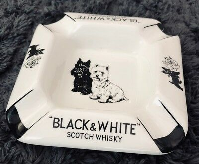 Vintage Black and White Scotch Whisky Ashtray 1960 Rare 2 Dogs Good Condition