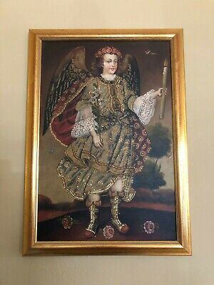 Peruvian Cuzco School Style Archangel Oil on Canvas, Professionally Framed