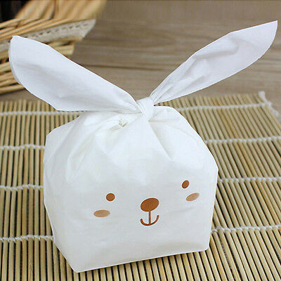 50pcs/lot Rabbit Ear Cookie Bags Food-grade Plastic Candy Biscuit Packaging Bag