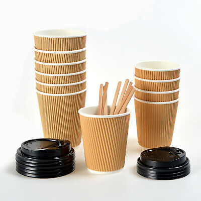 8oz 12oz Disposable Ripple Paper Cups Lids for Party Hot Cold Drink Coffee Tea