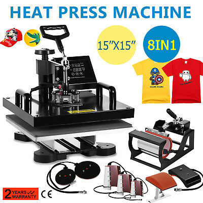 """15""""x15"""" 8 in 1 Heat Press Machine For T-Shirts Combo Kit Sublimation Swing Aaway"""