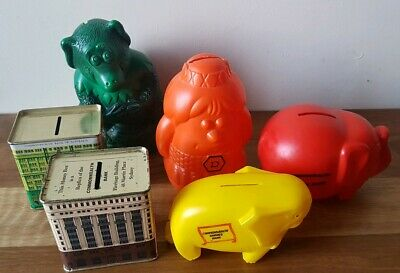 Vintage Bank Money Boxes x 6 Collectable Commonwealth Bank CBA Piggy Banks